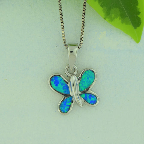 Blue Butterfly Necklace- Sterling Silver
