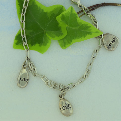 Charm Bracelet-Live Love Laugh Sterling Silver