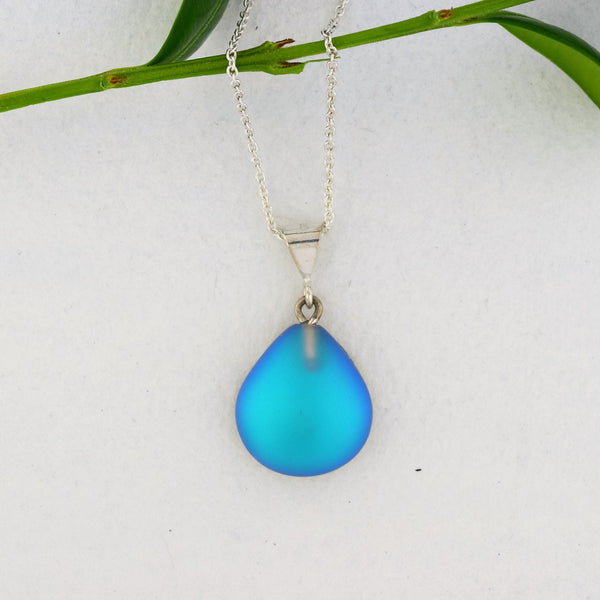 Acqua Blue Crystal Pendant Necklace -Sterling Silver