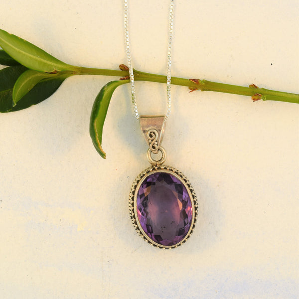Amethyst Pendant Necklace Sterling Silver