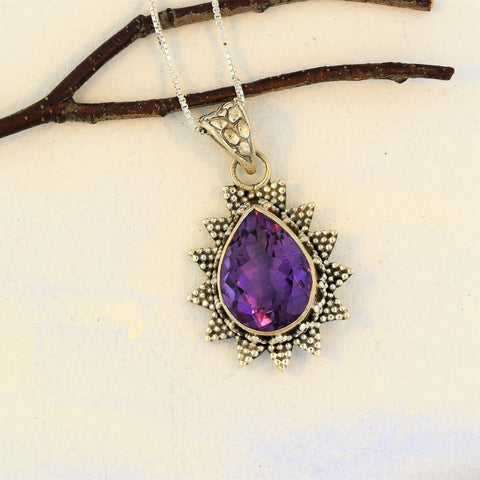 "Amethyst Pendant Necklace Sun Ray Design with 18"" chain"