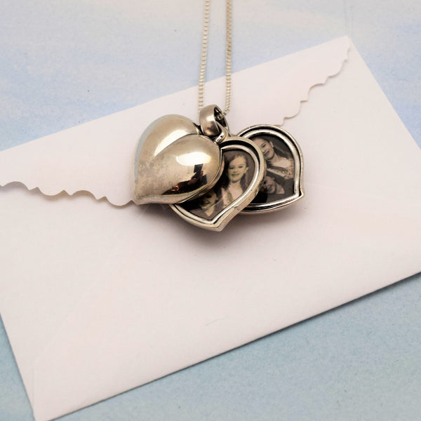 Sterling Silver Heart Locket Pendant Necklace