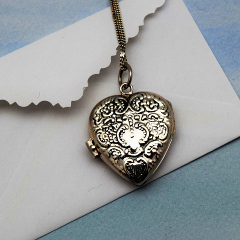 Victoran Heart Locket Necklace Sterling Silver