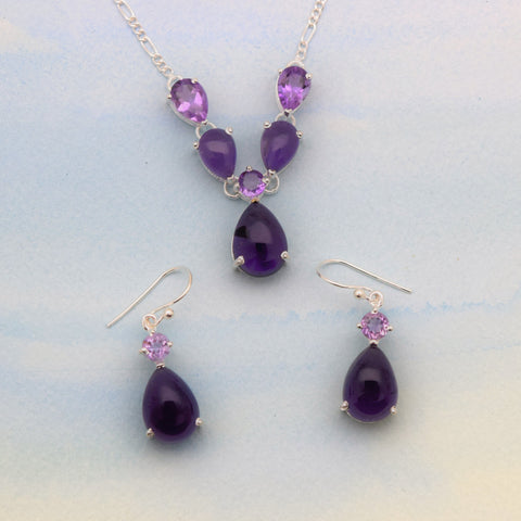 Sterling Silver Necklace Earrings Set- Am