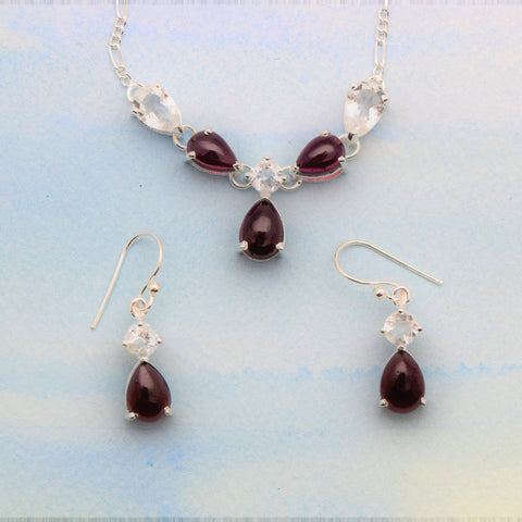Necklace Earrings Set- Garnet