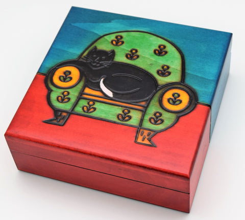 Wooden Box - Black Cat