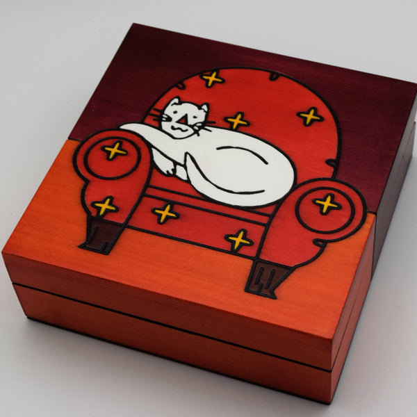 Wooden Box - White Cat