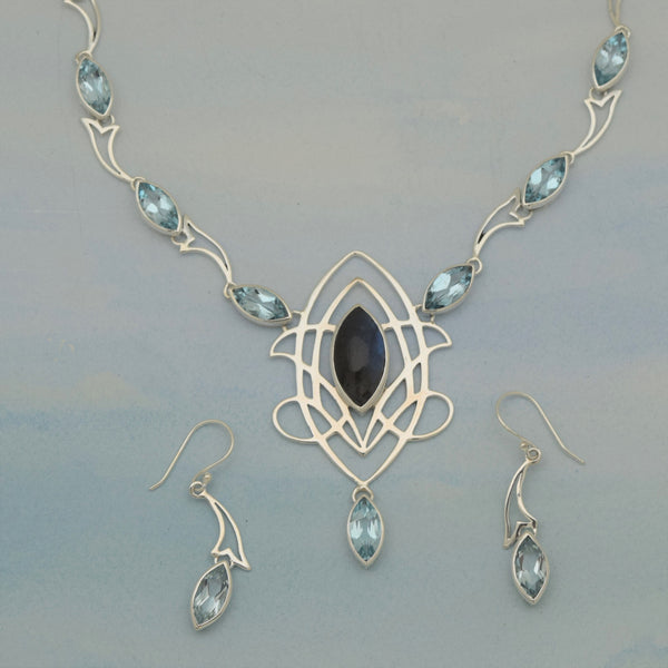 Sterling Silver Necklace Earrings Set- Celtic Knot BL Topaz