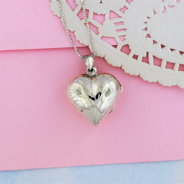 Sterling Silver Filigree Heart Locket Necklace