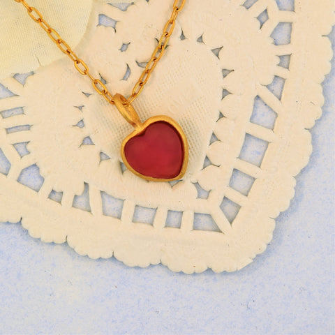 Gold Heart Pendant Red