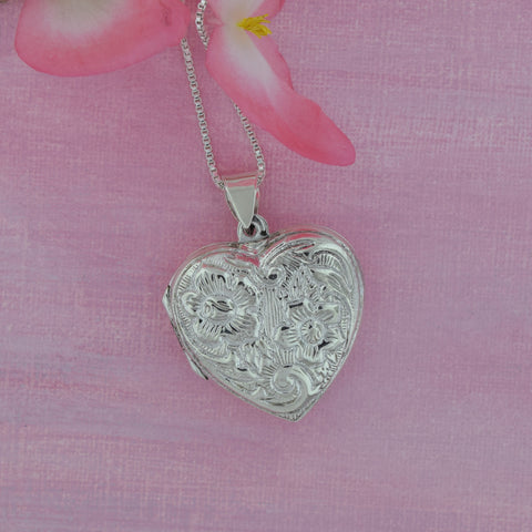 Sterling Silver Victorian Heart Locket Necklace