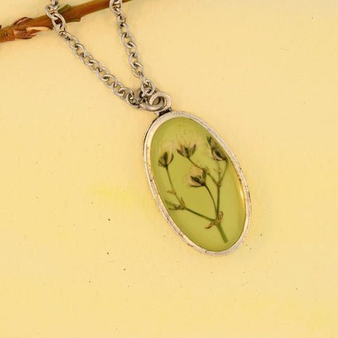 Oval Necklace with Baby's Breath Flower
