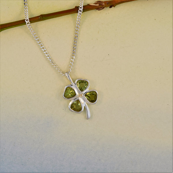 Sterling Silver Four Leaf Clover Necklace in Peridot