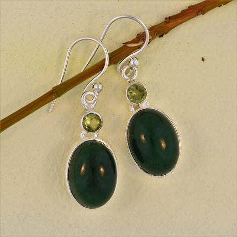Sterling Silver Oval Earrings in Jade and Peridot