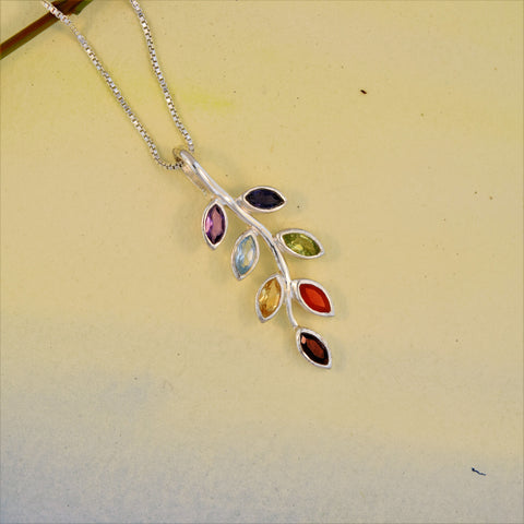 Sterling Silver Leaf Chakra Necklace