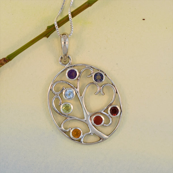 Sterling Silver Oval Tree of Life Chakra Necklace
