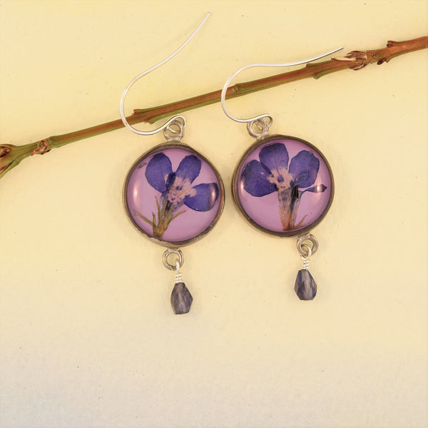 Round Earrings with Lobelia Petals and Bead Drop
