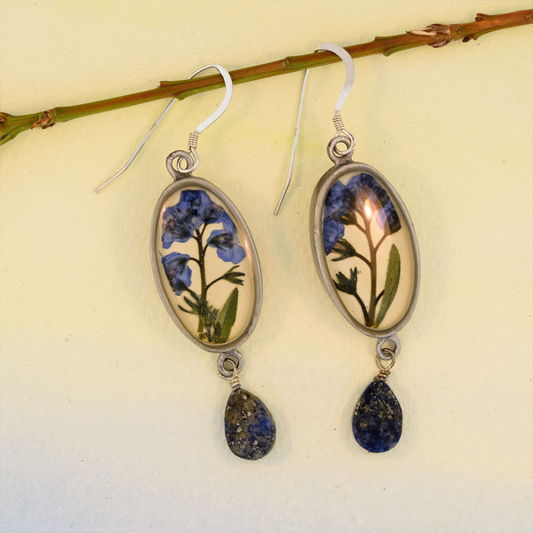 Oval Earrings with Forget-Me-Not and Lapis Drop