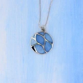 Sterling Silver Blue MOP Necklace