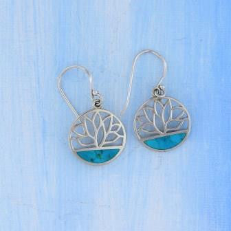 Sterling Silver Lotus Turquoise Earrings