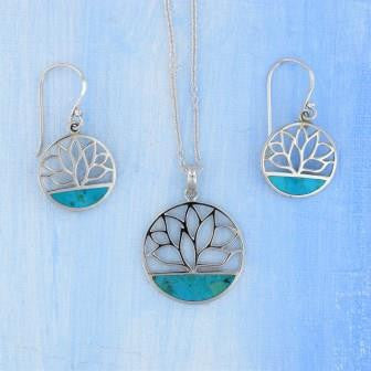 Sterling Silver Lotus Turquoise Necklace Earrings Set