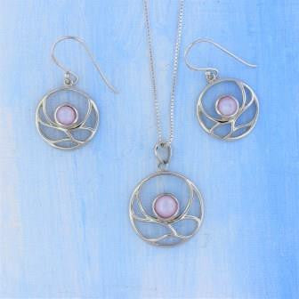 Sterling Silver Pink MOP Necklace Earrings Set