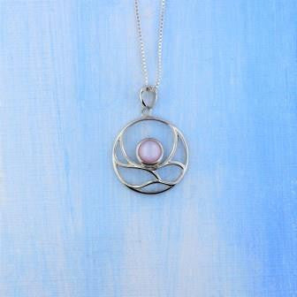 Sterling Silver Pink MOP Necklace