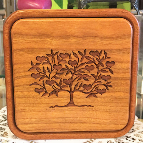 "Wooden Box with ""Tree of Love"""
