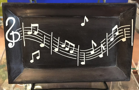 Black River Stone Dish with Music Notes