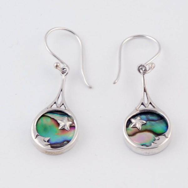 Moon Star Paua Shell Earrings