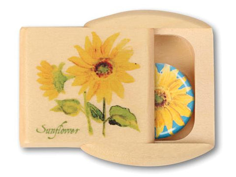 Wood Box - Sunflower with magnet inside