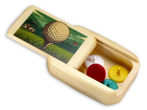 Wood Box - Golf with Golf Markers