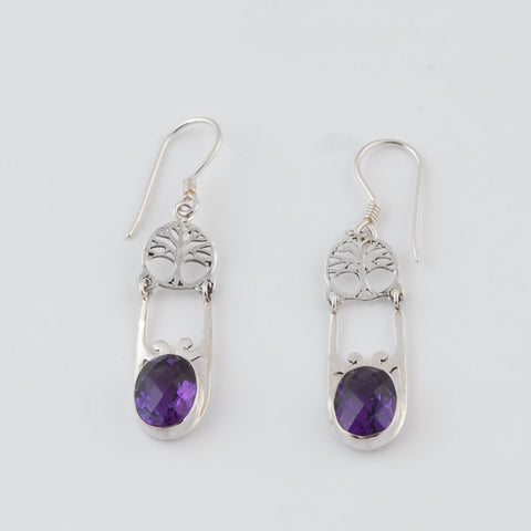 Tree of Life with Amethyst Earrings Sterling Silver