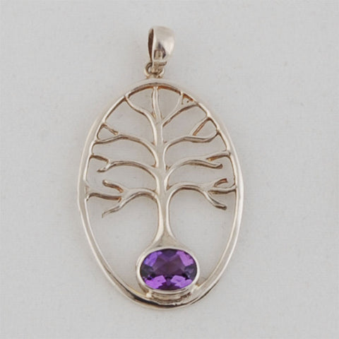 Tree of Life Pendant with Amethyst Sterling Silver