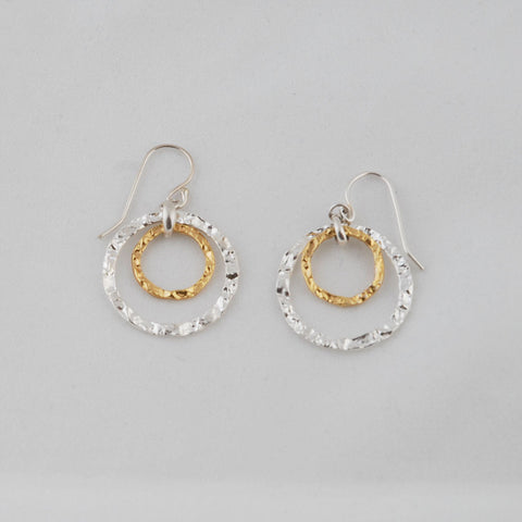 Unity of Love - Gold & Silver Hammered Earrings