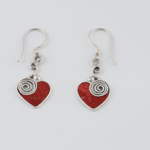 Energy Heart Coral Earrings