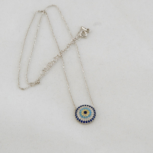 Evil Eye Delicate Necklace Sterling Silver