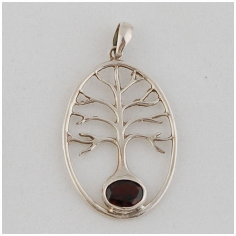 Tree of Life Pendant with Garnet Sterling Silver