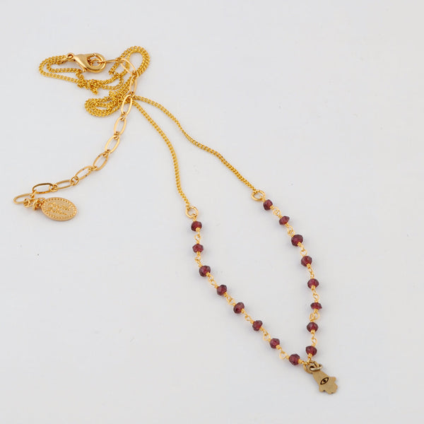 Gold Garnet Necklace with Hand