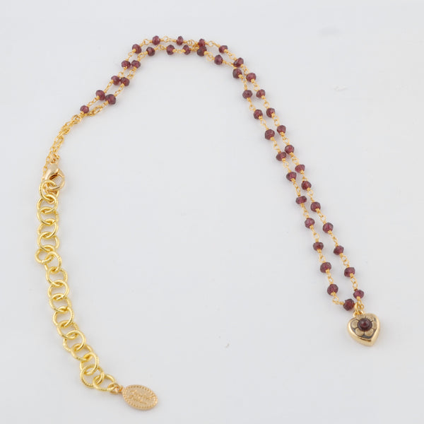 Gold Garnet Necklace with Heart