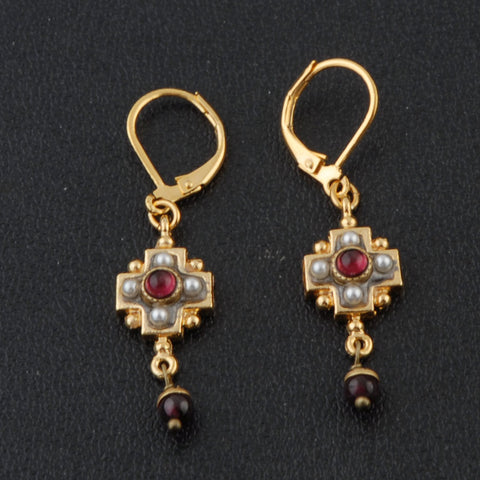 Gold Garnet Earrings with Pearl/Garnet
