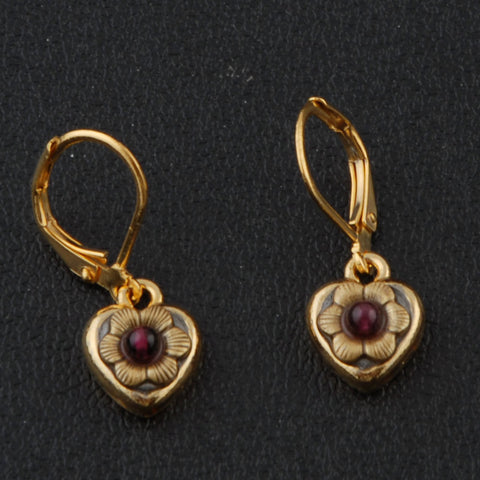 Gold Garnet Earrings