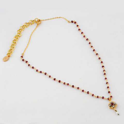Gold Garnet Necklace with Pearl & Garnet