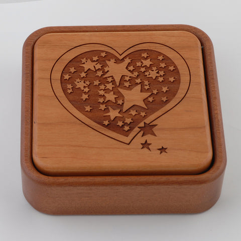 Wooden Jewelry Box/Heart Stars