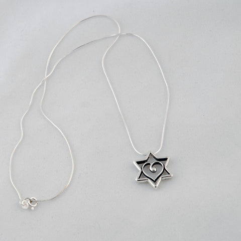 Star of David with Heart Necklace