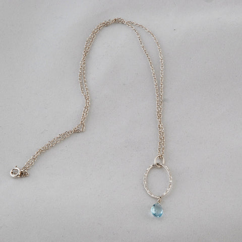 Sterling Silver & Blue Topaz Teardrop Necklace