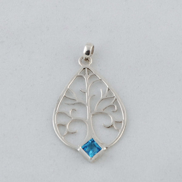 Sterling Silver Tree of Life Pendant with Blue Topaz