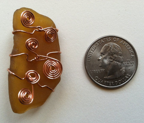 Wire-Wrapped Seaglass Brooch: Amber Meander