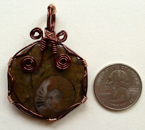 Wire-Wrapped Fossil Pendant: Ammonite