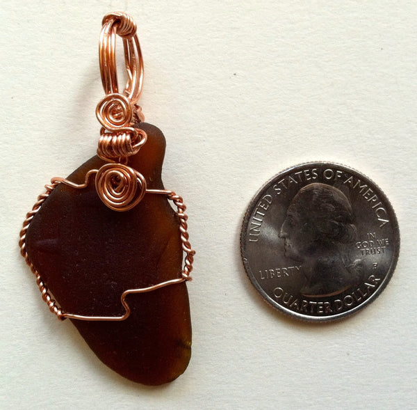 Wire-Wrapped Seaglass Pendant: HT Brown